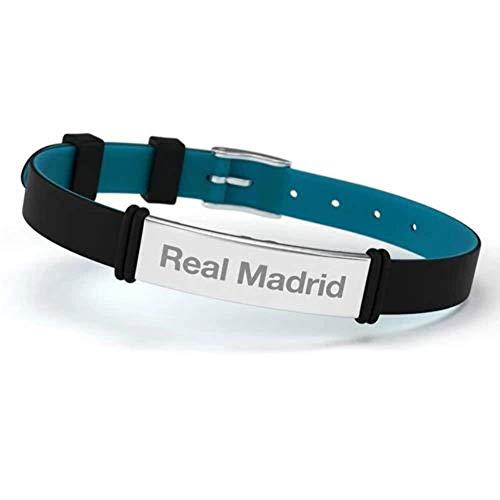 Pulsera Real Madrid Club de Fútbol Fashion Negra Ajustable para Hombre, Mujer y Niño. Pulsera de silicona y acero inoxidable. Producto Oficial.