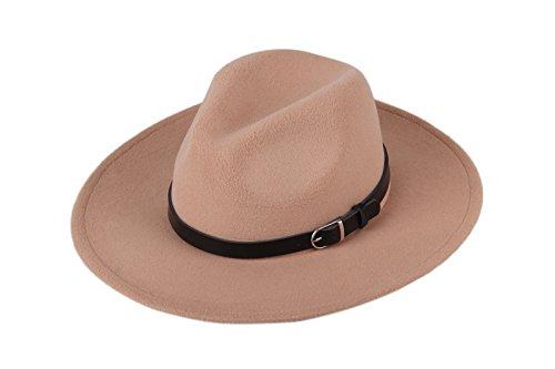 Dantiya Women'/s Wide Brim Wool Fedora Panama Hat with Belt Camel, One Size
