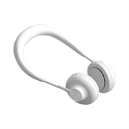 H.eternal (TM) Ventilador portátil sin aspas para el cuello para correr, deportes al aire libre, con USB, recargable, mini ventiladores de escritorio de refrigeración dual, blanco