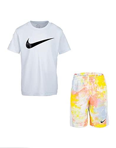 Nike RTLP AOP SS TEE & SHORT SET, niño, camiseta turquesa, pantalón corto fantasía naranja, 18 meses