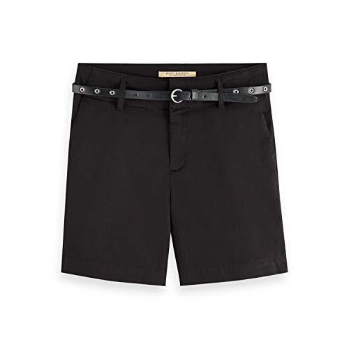 Scotch & Soda Maison Damen Baumwoll Shorts, Schwarz (Black 0008), W28(Herstellergröße: 28)