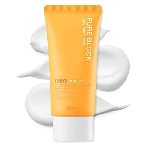 A'PIEU Pure Block Daily Sunscreen Cream SPF45/PA+++ 50ml | Non-Greasy No White Cast Korean Sunscreen for Face