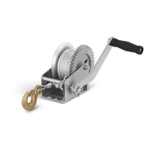 MSW Handseilwinde Seilwinde Handwinde Seilzug PROPULLATOR 1000-MH (450 kg / 1.000 lbs, Übersetzungsverhältnis: 3,5:1, Seil 10 m/Ø 4 mm, Ratschenkurbel)