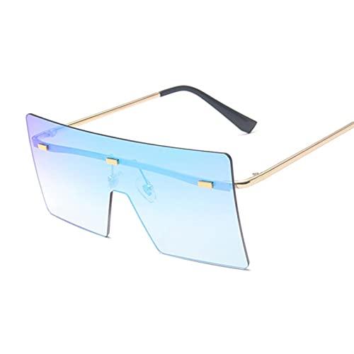 HSCDQ Vintage Square Gafas De Sol Mujeres Siamese Oversized Sun Gafas para Mujeres Marca De Lujo Lente Océano Rimless Big Shades Oculos De Sol exc.tq (Lenses Color : 13)