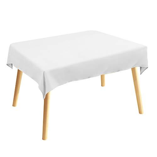 Tischdecke, Rechteckige Tischtuch, 120 × 140cm, Weiß, 100% Polyesterfaser, Einfarbig, Pflegeleicht Waschbar