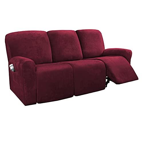 Zoyay Terciopelo Funda de sofá/Cubre Sofa/Protector para Sofás, Elástica Sofa Cover Sillón Acolchado/Chaise Longue de Funda, para Mascotas Perro o Gato antisuciedad también-Vino Rojo_1 Plaza