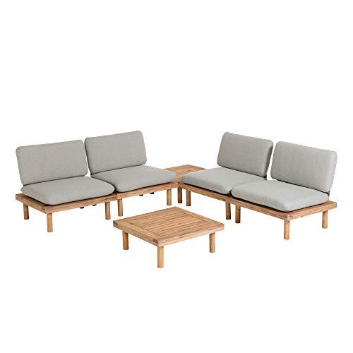 Kave Home - Set de Exterior Viridis con 4 sillones y 2 mesas auxiliares 70 x 70 cm de Madera Maciza de Acacia para Interior y Exterior
