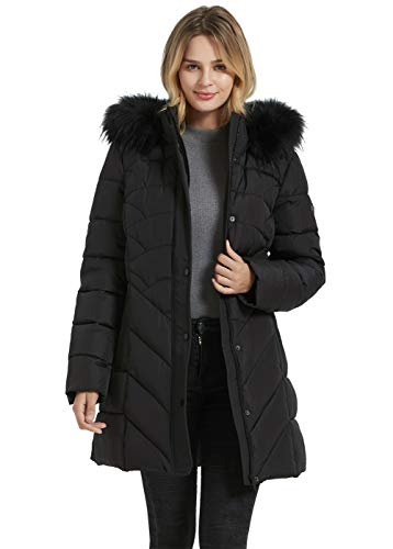 BINACL Women's Fashion Hoodie Thickened Black Jacket, Down Alternative Spring Gift Parka Puffer Cotton Padding Outwear Climbing Long Sleeve Jacket with Fur Hood Great with Sweaters(Black,XL)