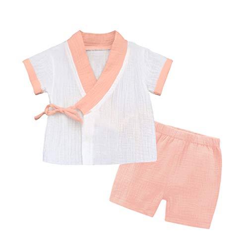 PAUBOLI Baby-Kimono-Robe, Neugeborenen-Wickel-Shirt, Bio-Baumwolle. Gr. 3-6 Monate, rose