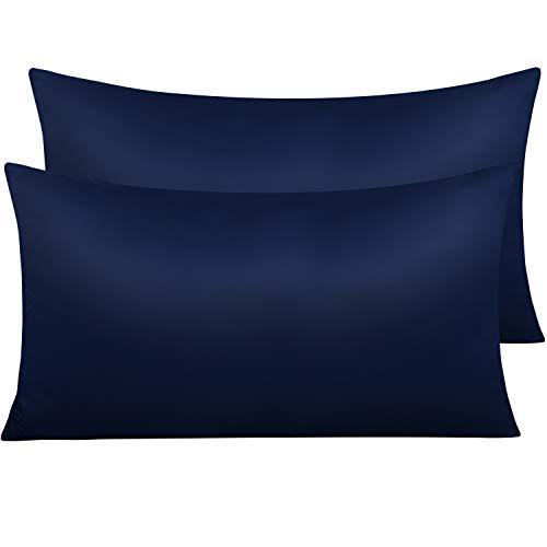 NTBAY Funda de Almohada de Satén con Cremallera, Paquete de 2 Fundas de Almohada Súper Suaves, 50x90cm, Azul Marino