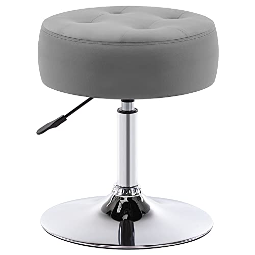 Duhome Modern Velvet Vanity Stool Makeup Stool Vanity Chair Height Adjustable Swivel Stool Round Ottoman Grey