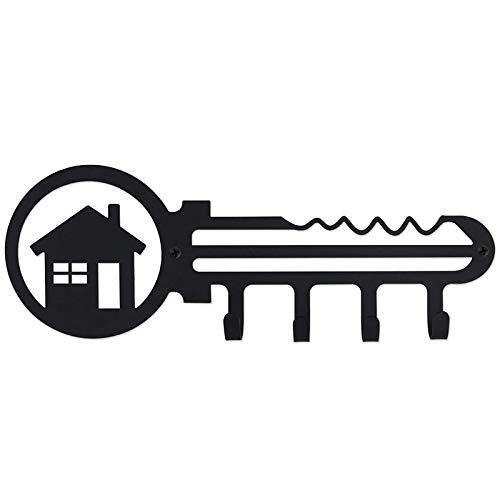 OUTDA Soporte Decorativo para Llaves de Hierro Montado en la Pared, Organizador de 4 Ganchos para Llaves para el Coche o la Casa, Soporte para Llaves (El Camino una Casa)