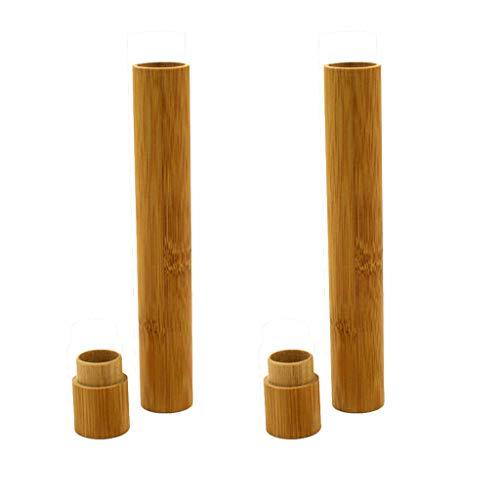 FiedFikt - Soporte de bambú natural para cepillos de dientes,funda para cepillo de dientes,caja de almacenamiento para cepillo de dientes portátil antibacteriano,B*2 pcs