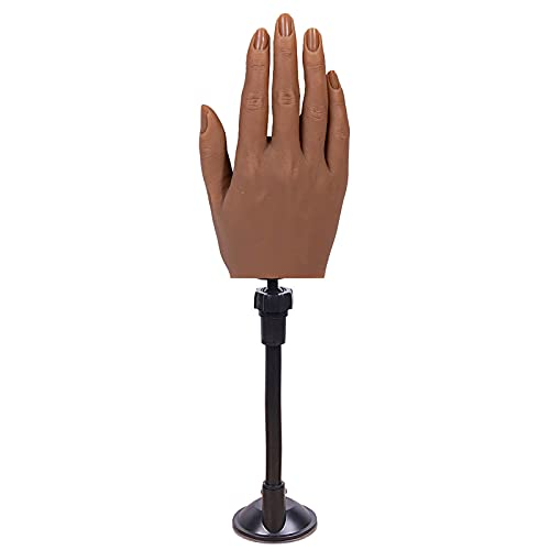 PENNY73 Silicone Manicure Nail Art Training Hand Fake Hand with Bracket Flexible Bendable Practice Hand Model Tool Simulation Bone Design,Right 4