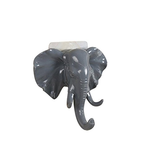 WARMSHOP Creative Hanger Holder, Elegant Elephant Head Unique Design Cute Adhesive Sticky Holder for Bag & Keys Kitchen Bathroom Bedroom Door & Bar Accessories (Gray)