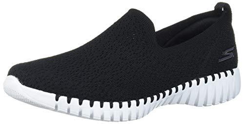 Skechers Damen Go Walk Smart-Glory Sneaker, Schwarz (Black Textile/White Trim BKW), 38 EU