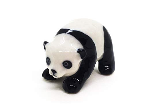 WitnyStore Panda Figurine - Collectible Animal Art - Miniature Hand Made and Painted Ceramic Table Decor Perfect for Gifts and Souvenirs .875  W x 1.5  L x .875  H