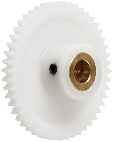 """Boston Gear YPB3248 Spur Gear, Molded Delrin with Brass Inserts, Inch, 32 Pitch, 0.250"""" Bore, 1.562"""" OD, 0.188"""" Face Width, 48 Teeth"""