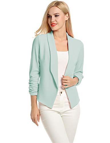 POGTMM Womens Business Jacket, Casual Work Office Open Front Blazer Jacket (Mint, US M(8-10)