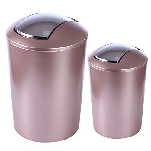 Searchyou - 2 Piezas 6,5 + 10 litros - Papelera Cubo de Basura de Cocina Tapa Basculante Plástico con Tapa Abatible para Cocina baño - Oro Rosa