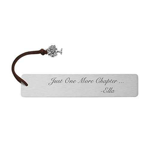 PiercingJ Personalized Custom Name Stainless Steel Bookmarks 30x140mm Dog Tag with Brown Tree of Life Charm Tassel Page Holder Book Paper Marker Stationery Gift for Girls Boys Adults Bookworms