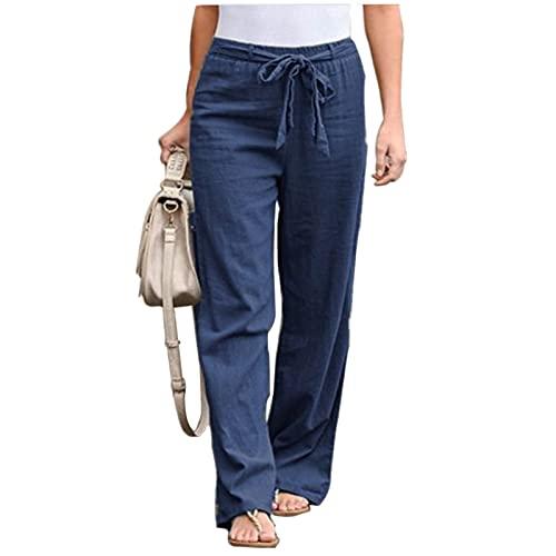 Everrwant Women's Drawstring Elastic Waist Pants Summer Wide Leg Pants Casual Golf Pants with Waistband Blue