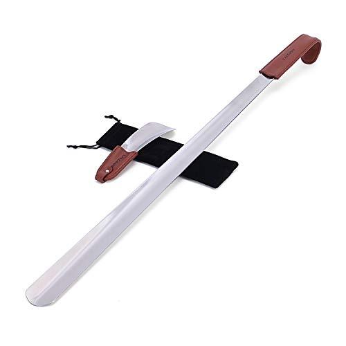 Calzador 2PC (70cm+17cm) de acero inoxidable con correa de cuero - acero inoxidable mango largo zapato cuerno zapato elevador colgante agujero - Fácil de utilizar