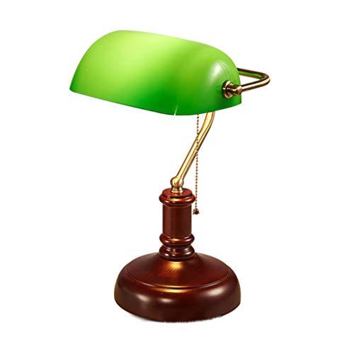 Yxsd Bureaulamp, retro, lampenkap van glas, groen, bank, creatief leren, slaapkamer, bureaulamp, nachtkastje, woonkamer, eettafel, leeslamp
