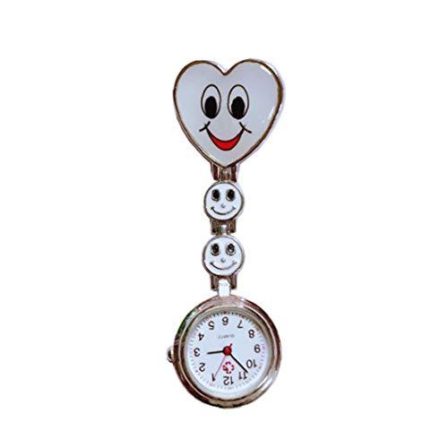 tJexePYK La Manera del corazón de la Enfermera en Forma de Pinza-Broche de aleación de Zinc Reloj Colgante de Bolsillo para Mujeres niñas Blancas