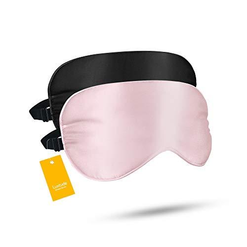 Luxtude 2 Pack Silk Eye Masks for Sleeping Blackout, Natural Mulberry Silk Sleep Masks, Organic Satin Sleeping Mask, Blindfold, Eyemask, Night Masks, Eye Covers, Eye Shades for Women Men, Black & Pink
