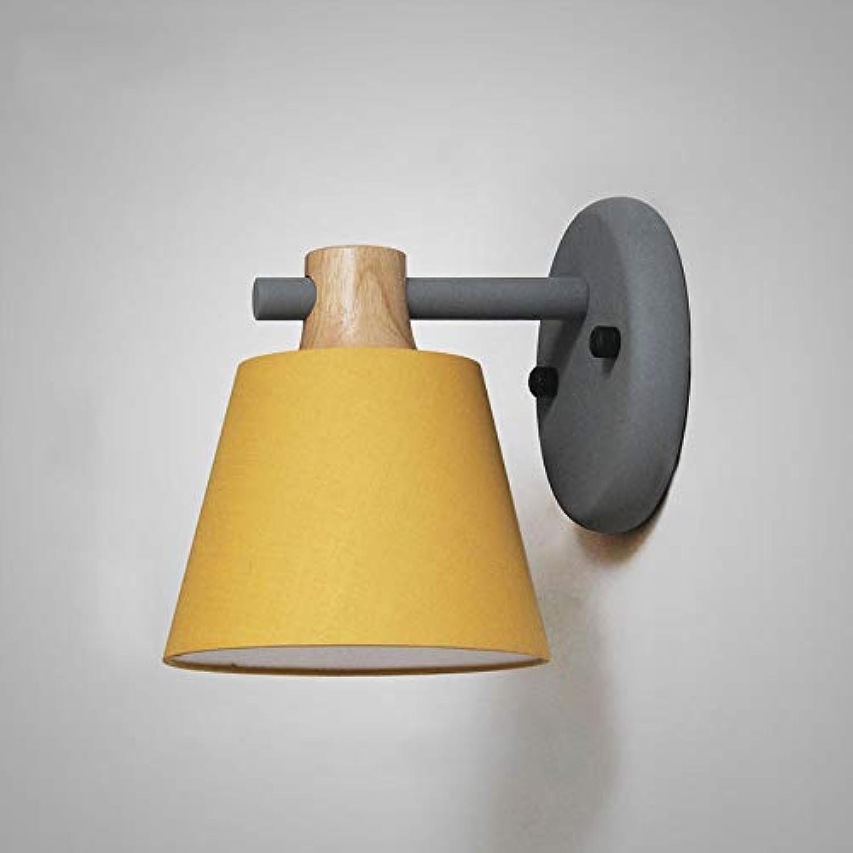 WH Nordeuropische Schlafzimmer warme Nachttischlampe kreative einfache Persnlichkeit Wohnzimmer Macarons Licht Schatten Wandleuchte (Farbe   Gelb)