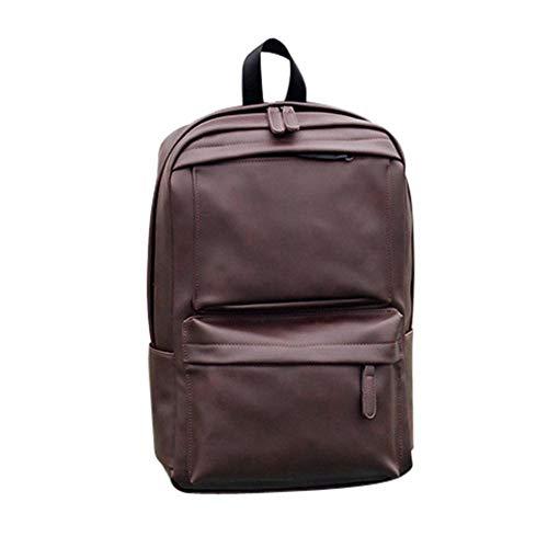 JNML rugzak tas Koreaanse mode rugzak schooltas bruin/zwart heren leren damesrugzak laptop satchel reisschool, bruin, 14 inch
