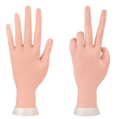 Duable Trainer Training Maniküre Praxis Hände & Finger Nagel Hand Praxis Modell Flexible Bewegliche Weiche Kunststoff Hand für Fake Nail Art Starter Training