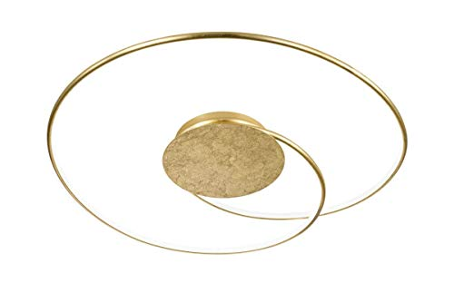 Wofi Deckenleuchte Opus 1-flammig, 31 W, 2500 lm, Warmweiß (3000 Kelvin), Dimmbar mit Dimmer, Gold, 9422.01.15.8700