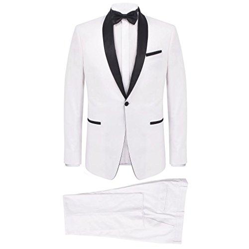 vidaXL Smoking 2 pz Vestito da Cerimonia Uomo Taglia 46 Bianco Giacca Elegante