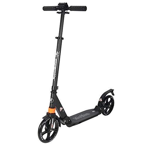 HyperMotion, Kinderroller, ABEC-9 Lager, Roller für Kinder, faltbar, Stoßdämpfer, Scooter für Erwachsene, Mädchen und Jungen, Kickboard, Tretroller, Schwarz