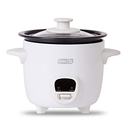 Dash DRCM200GBWH04 Mini Rice Cooker Steamer with Removable Nonstick Pot, Keep Warm Function & Recipe Guide, 2 cups, for Soups, Stews, Grains & Oatmeal, White