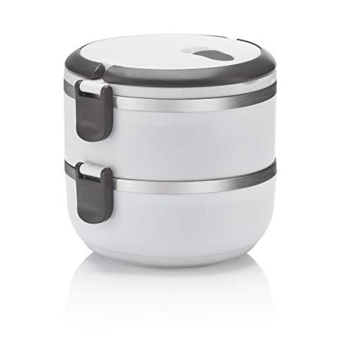 Dimono® Launchbox de acero inoxidable, caja de almuerzo al vacío caja de pan 100% hermética para alimentos de cualquier tipo; caja de almuerzo completa