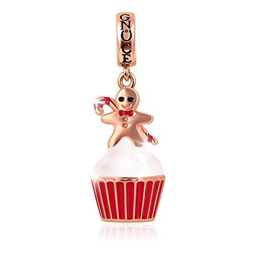Gnoce Gingerbread Man Cup Cake Charms Colgantes Plata De Ley 18K Chapado En Oro Rosa Dijes Navideños Para Todas Las Pulseras Collares Regalo De Navidad Para Mujeres Niñas
