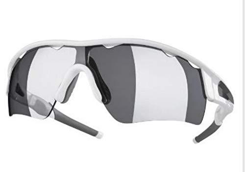 Crivit Design 100% UV Sportbrille Sonnenbrille Fahrrad Brille 3 Wechselgläser weiß