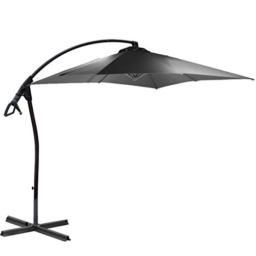 habeig WASSERDICHT Ampelschirm 250x250cm quadratisch durch PVC-Beschichtung Schirm Sonnenschirm Marktschirm Gartenschirm (anthrazit #55)