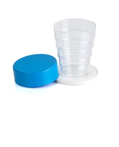 Kimmel Vaso plegable con espejo para camping, picnic, viajes, hogar, cristal azul claro, tamaño único