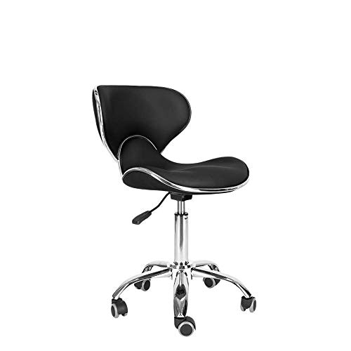 Mefeir Modern Adjustable Hydraulic Executive Office Home Computer Task Ergonomic Desk Chair on Wheels 360° Swivel Caster, Mid Back Leather SGS Certificated Working Rolling Stool
