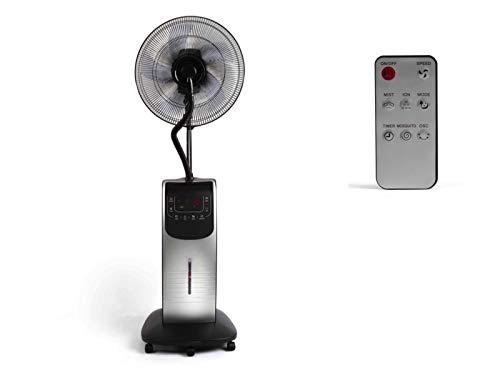 Standventilator mit Sprühnebel und Fernbedienung Luftbefeuchter Ventilator Timer (Fassungsvermögen 3,1 Liter, Raumbefeuchter, Oszillation, Mückenschutz, 5 Räder)