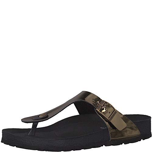 Tamaris 1-1-27532-22 Damen FlipflopsLeder,Sandale,hochwertig,bequem,leicht,Sommer,Strand Schuhe,Mirror Bronce,36 EU