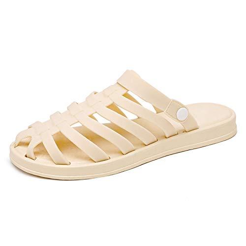 ZJMM Beige Surf Caminar Verano Zapatillas De Punta Abierta Sandalias Planas para Mujer Zapatos Baotou Hole para Mujer Dos Usan Gelatina Zapatos De Playa para Mujer
