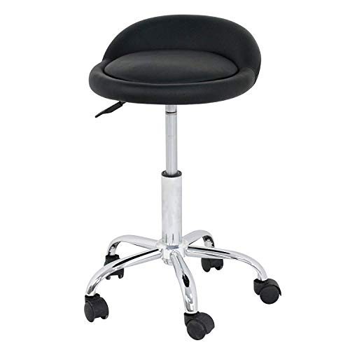 HomGarden Adjustable Rolling Swivel Salon Stool for Tattoo Massage Facial Spa Office Kitchen Drafting Chair Stool w/Backrest Cushion & Wheels
