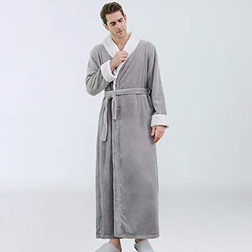 Busirsiz Robas de sueño para Hombres Invierno Grueso Maxi Velvet Largo Kimono Casas de baño Pijamas Cálido y de Lujo Ropa Peignoir Sleepwear (Color : Gray, Size : XL)