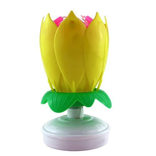 sbay Upgrade Multicolour Rotating Lotus Cake Candle Electronic Music Candle Birthday Wedding (Yellow)