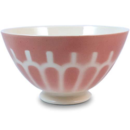 Niderviller Milchkaffee Müsli Schale original Fayence Keramik mit Standfuß groß 50 cl Arkaden rosa